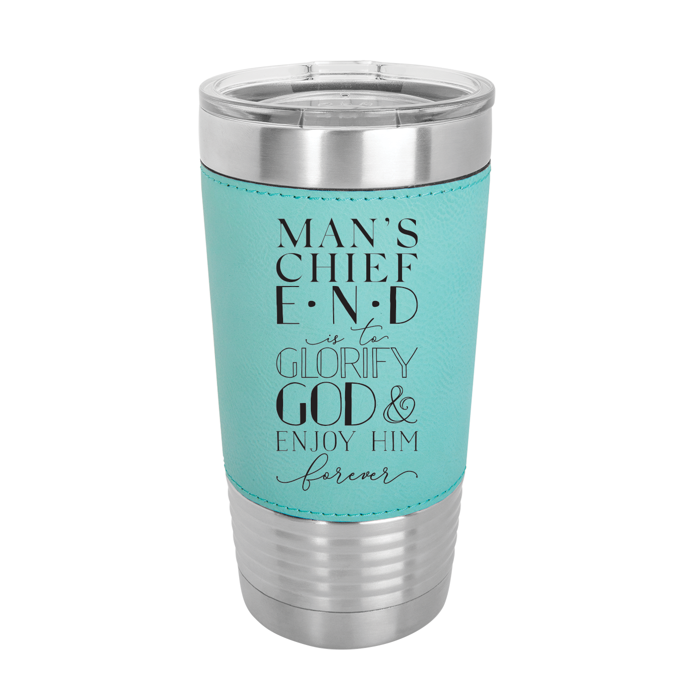 Mans Chief End 20oz Leather Tumbler