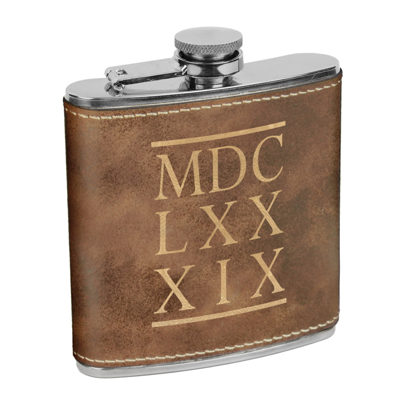 1689 BCF Roman Numerals Leatherette Flask-Brown