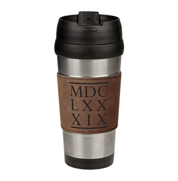 1689 BCF Roman Numerals Leatherette Stainless Steel Travel Mug