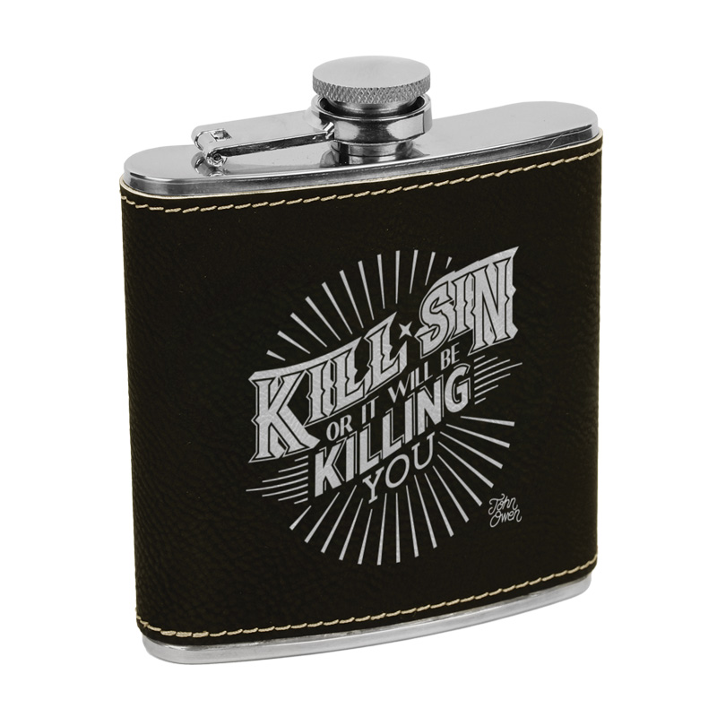 Kill Sin Or It Will Be Killing You Leatherette Flask Brown