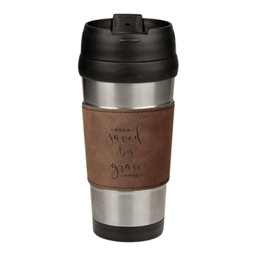 Saved By Grace Leatherette Stainless Steel Travel Mug