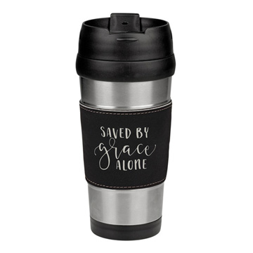 Saved By Grace Alone Leatherette Stainless Steel Travel Mug