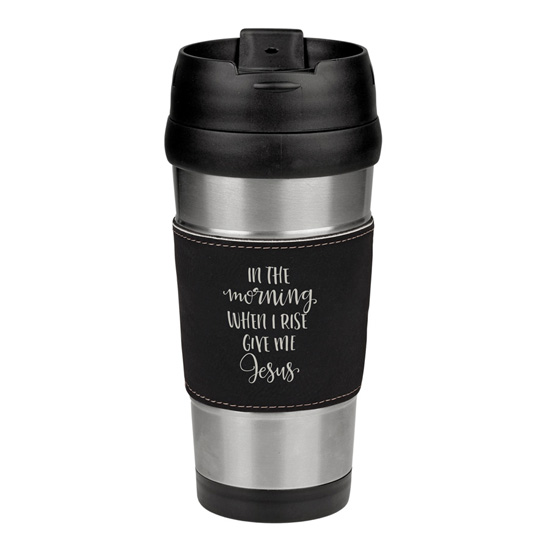 In The Morning Leatherette Stainless Steel Travel Mug