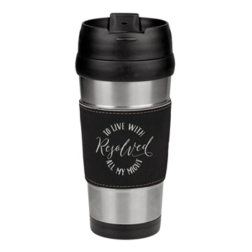 Resolved to Live Leatherette Stainless Steel Travel Mug