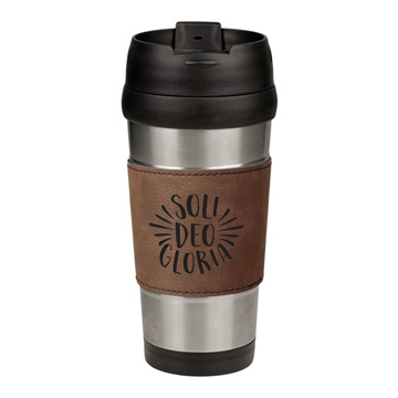 Soli Deo Gloria Leatherette Stainless Steel Travel Mug