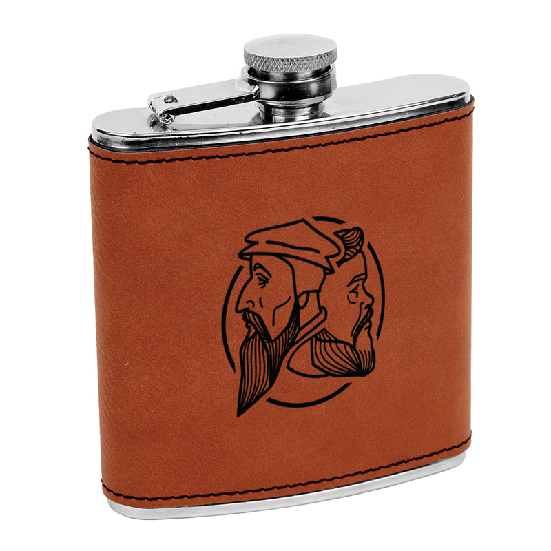 Logo Leatherette Flask Brown