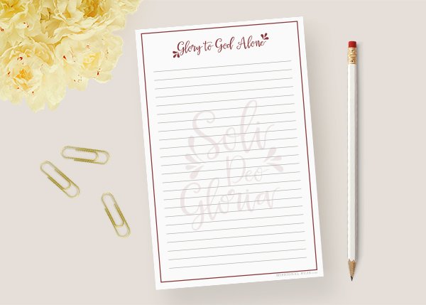 Soli Deo Gloria Red Notepad