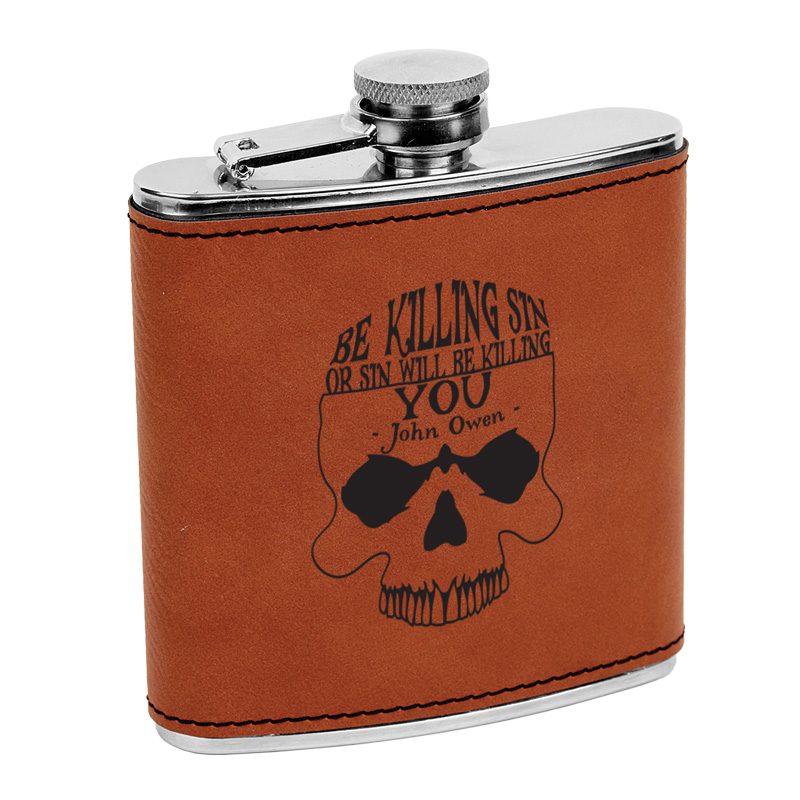 Be Killing Sin (Skull) Leatherette Flask-Brown