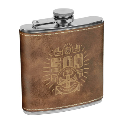 500 Years of Reformation Leatherette Flask Brown
