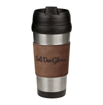 Soli Deo Gloria Lettered Leatherette Stainless Steel Travel Mug