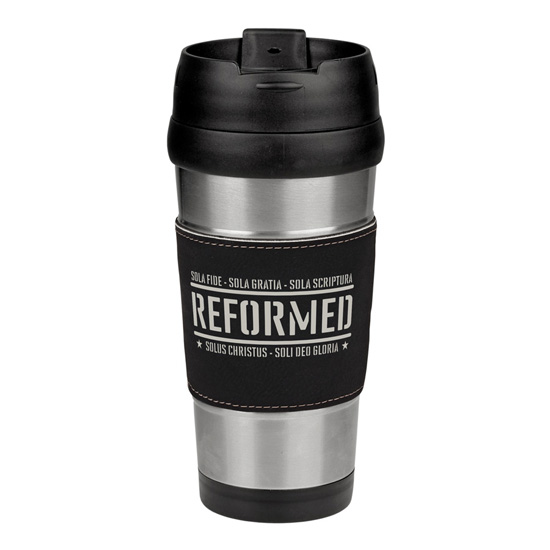 Reformed with the Five Solas Leatherette Stainless Steel Travel Mug