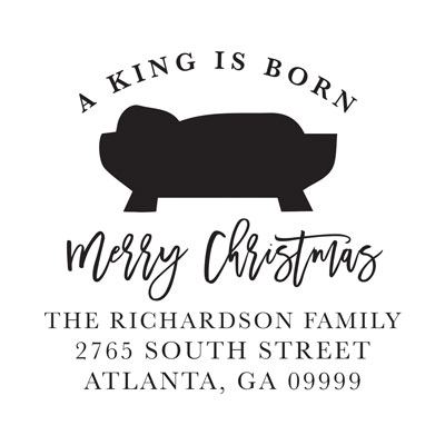 A King Is Born Address Stamp